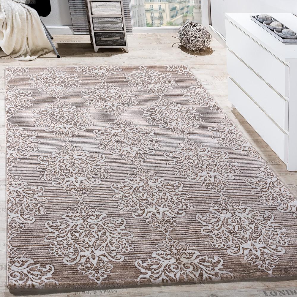Teppich Wohnzimmer Klassisch Floral Muster Ornament Abstrakt Meliert Beige  Creme 1 ...