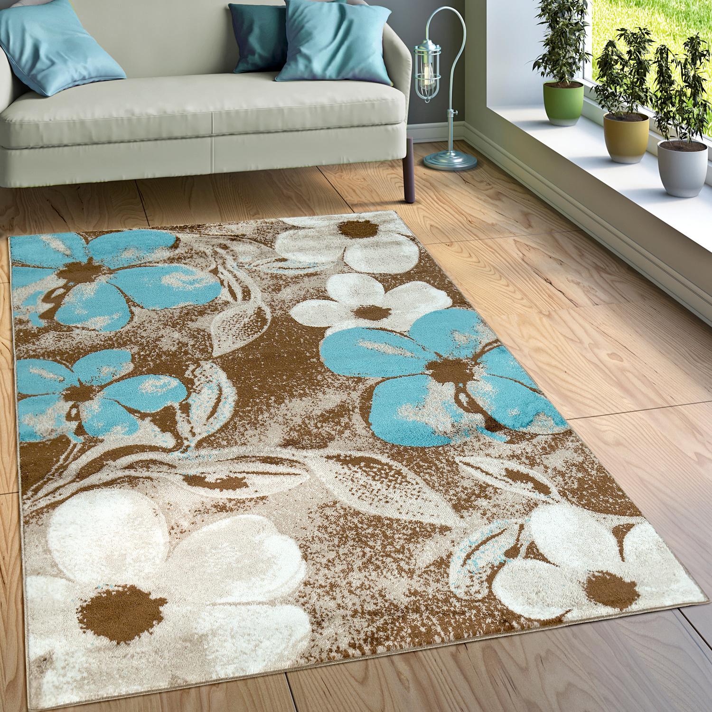 Designer Teppich Wohnzimmer Modernes Blumen Muster Braun Creme Türkis 1 ...