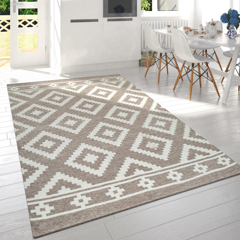 Moderner Wohnzimmer Kurzflor Teppich Skandi Design Rauten Muster In Beige  Weiß