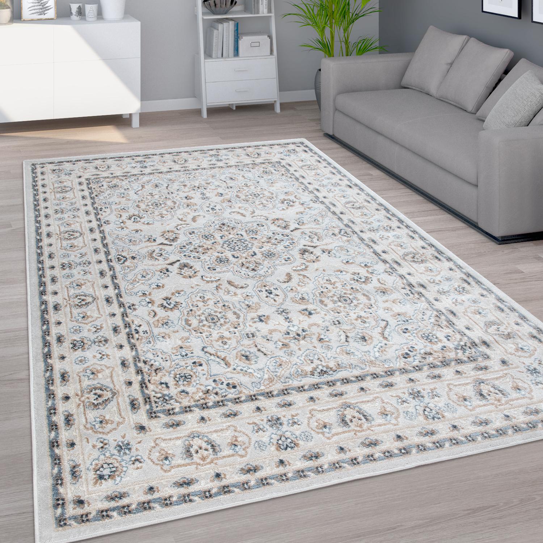 Teppich Wohnzimmer Kurzflor Orientalisches Muster Mit Ornamenten Grau Beige Blau Kaufen Bei Diva Teppich Center