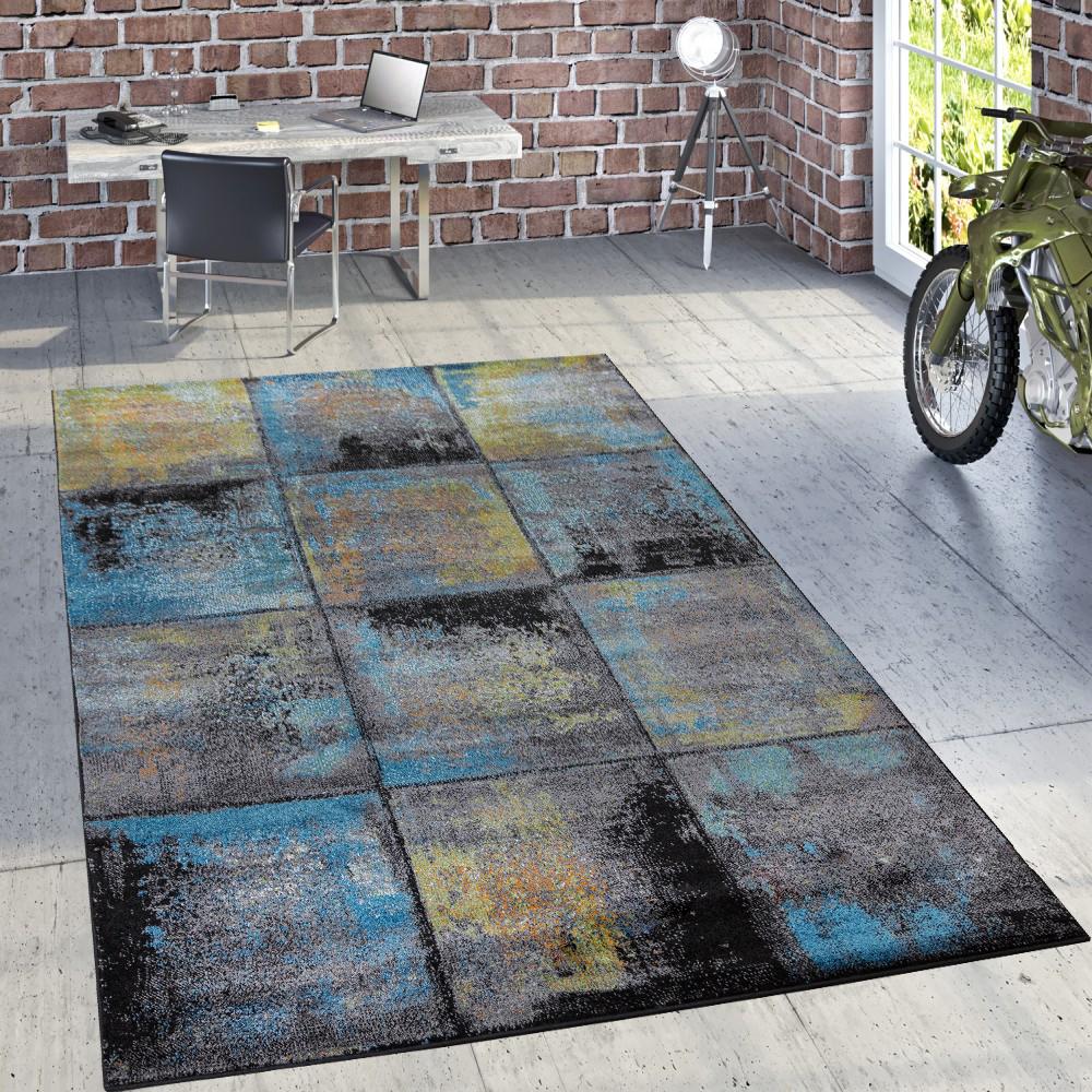 Designer Teppich Modern Wohnzimmer Ölgemälde Abstrakt Rost Optik In Blau  Gelb 1 ...