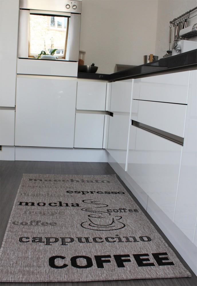 Teppich Sisal Optik In Grau Mit Schriftzug Espresso Cappuccino