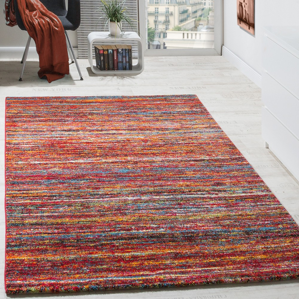Teppiche Modern Wohnzimmer Teppich Spezial Melierung Rot Multicolour ...