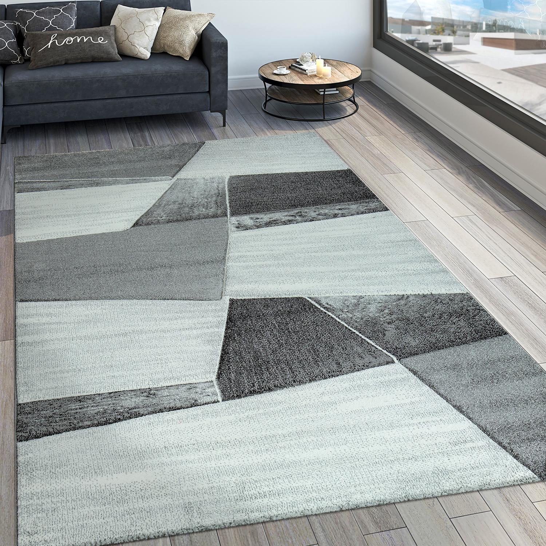 Designer Teppich Modern Konturenschnitt Geometrisches Muster Grau