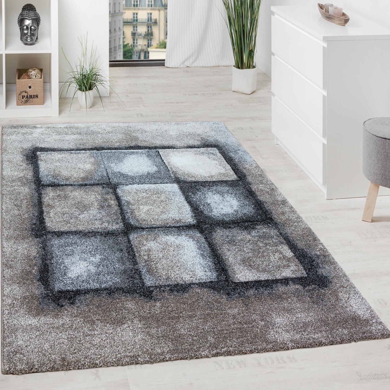 Designer Teppich Wohnzimmer Webteppich Geometrische Muster Webteppich Grau  Creme 1 ...