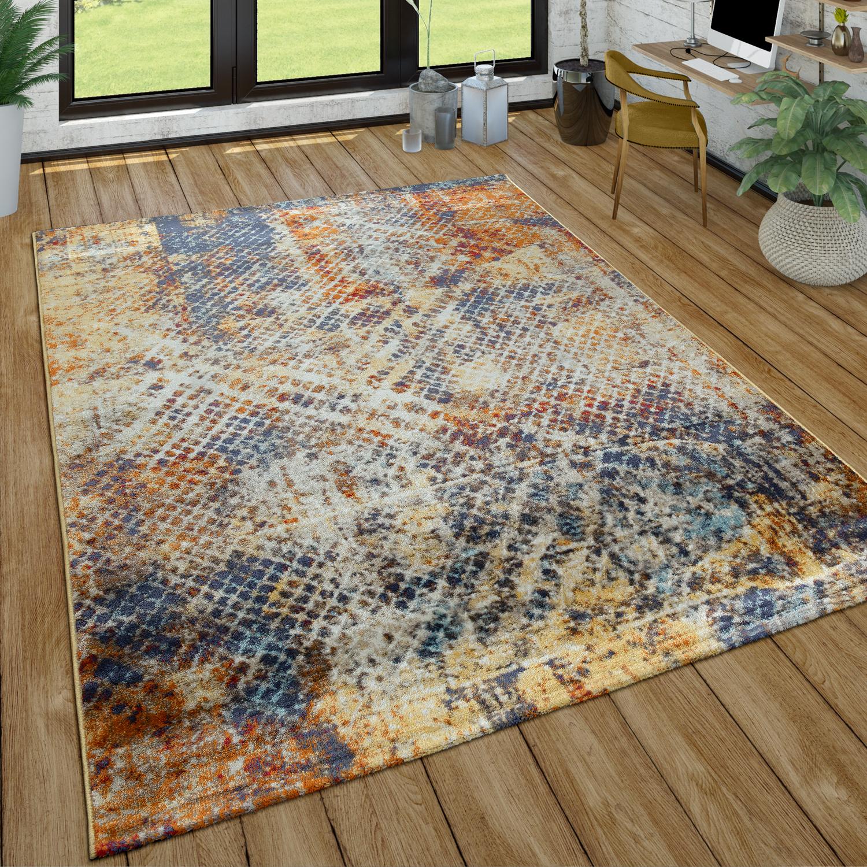 Wohnzimmer-Teppich Im Used Look, Moderner Kurzflor-Teppich In Weiß, Braun,  Blau