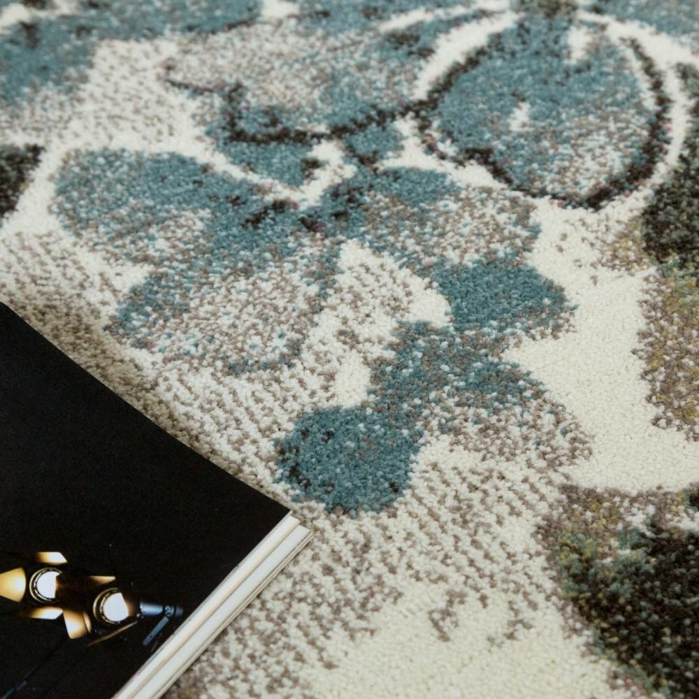 designer teppich modern wohnzimmer blumen muster pastell t ne in gr n blau creme kaufen bei. Black Bedroom Furniture Sets. Home Design Ideas