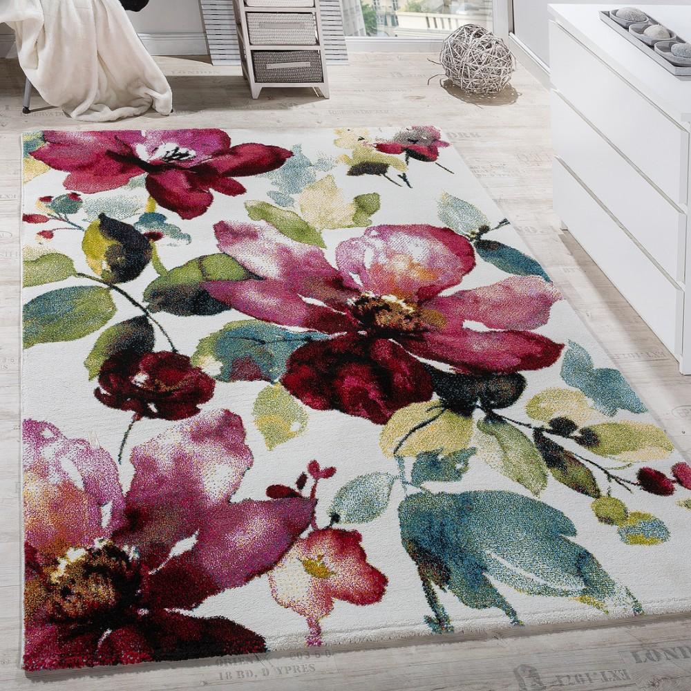 Teppich Modern Leinwand Optik Teppich Blumen Muster Bunt Farbmix