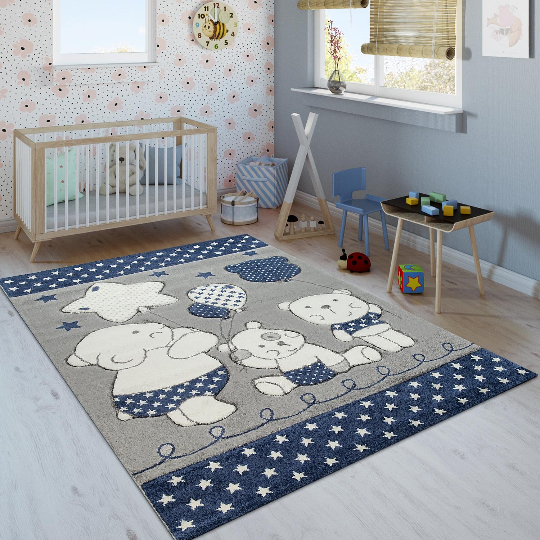 Kinderzimmer Kinderteppich Niedliche Barenfamilie Und Sterne In Blau Grau Weiss