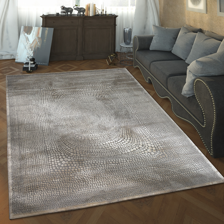 Designer Wohnzimmer Teppich Hoch Tief Struktur Gepunktet Modern In Grau  Weiß 1 ...