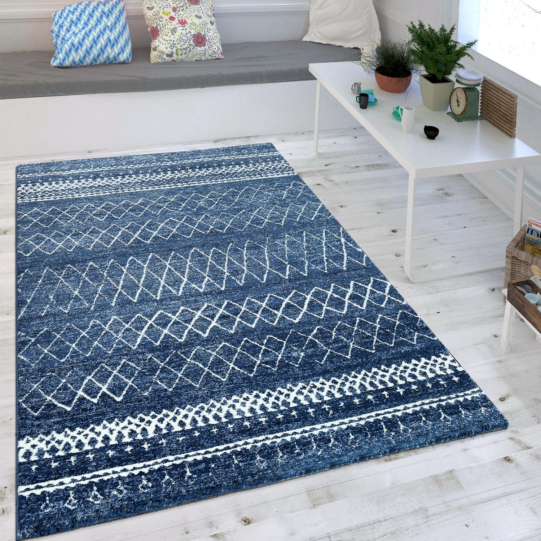 Uberlegen Wohnzimmer Teppich Indigo Blau Trend Modernes Skandinavisches Muster 1 ...