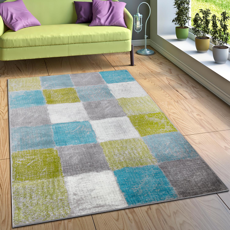 Designer Teppich Wohnzimmer Ausgefallene Farbkombination Karo Türkis Grün  Grau 1 ...