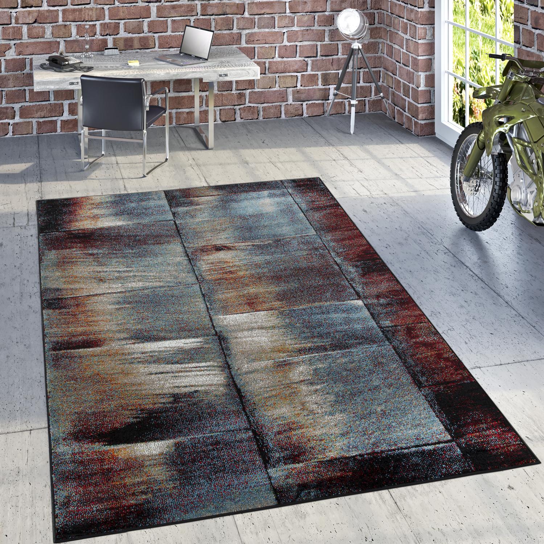Designer Teppich Modern Wohnzimmer Olgemalde Abstrakt Rost Optik In