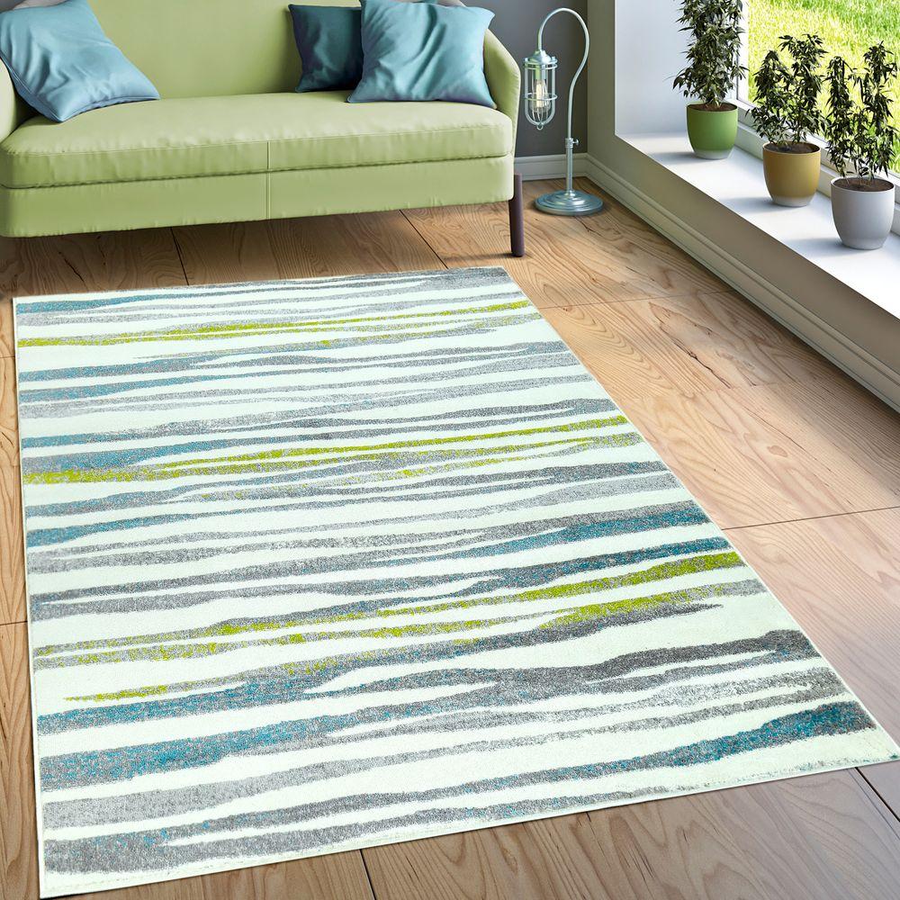 Designer Teppich Wohnzimmer Modernes Wellen Design In Creme Grün