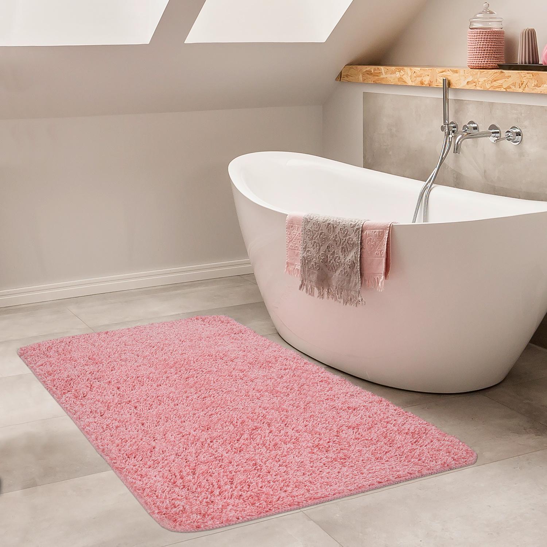 Moderner Badezimmer Teppich Einfarbig Hochflor Badteppich Rutschfest