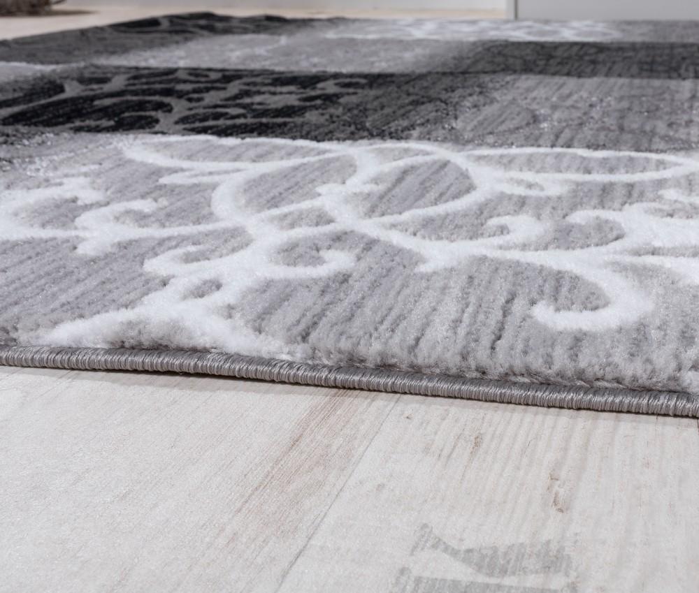 Teppich Wohnzimmer Kariert Abstrakt Ornament Design Meliert Grau ...