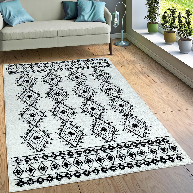 Designer Teppich Kurzflor Wohnzimmer Indianischer Look Modern Creme Beige 1  ...