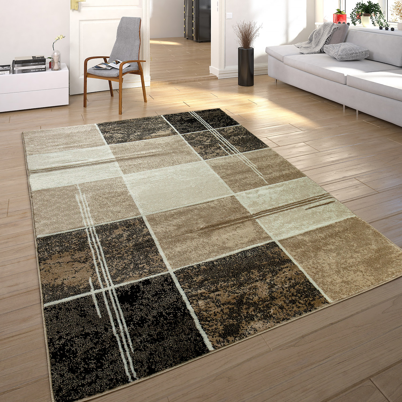 Designer Teppich Wohnzimmer Teppich Bordure In Grau Schwarz Creme Preishammer