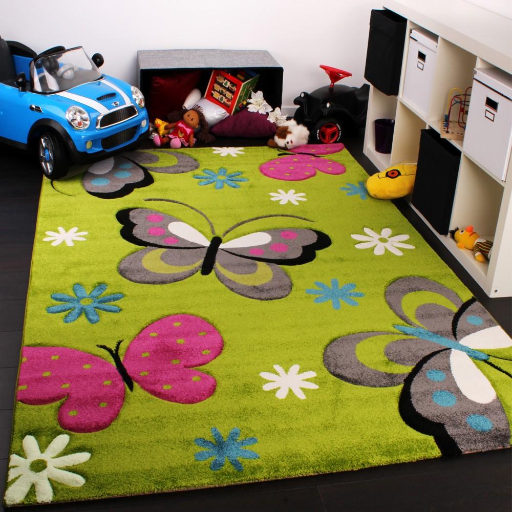 Kinder Teppich Schmetterling Design Grun Creme Rot Pink