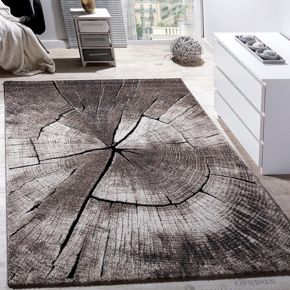 Edler Designer Teppich Wohnzimmer Holzstamm Baum Optik Natur Grau ...