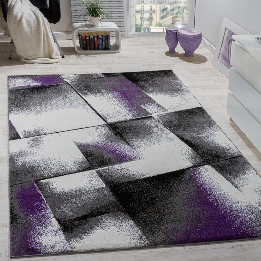 Schon Designer Teppich Wohnzimmer Teppiche Kurzflor Meliert Lila Grau Schwarz  Creme 1 ...