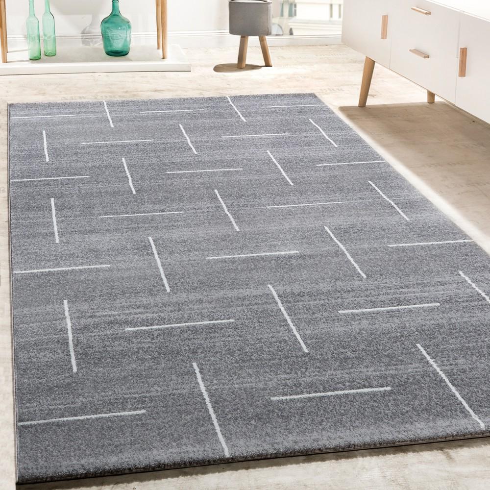Designer Teppich Wohnzimmer Modernes Design In Grau Weiß Meliert 1 ...