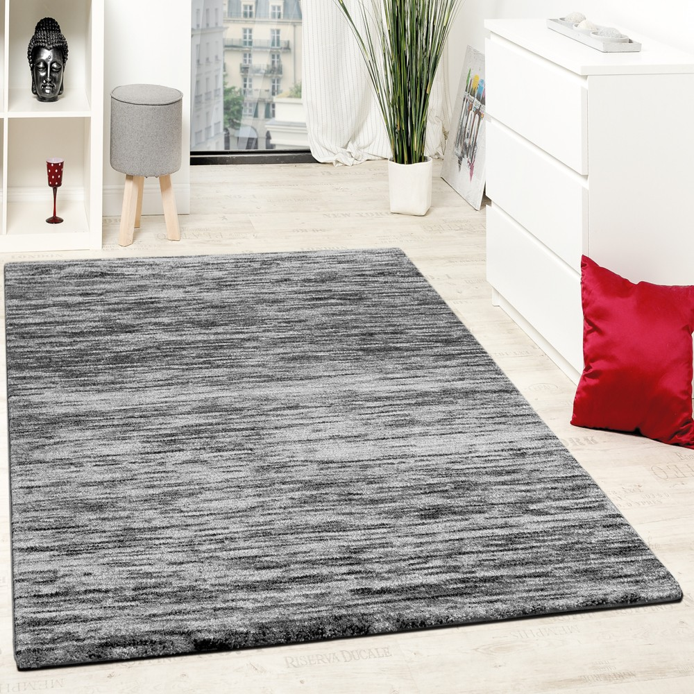 Teppiche Modern Wohnzimmer Teppich Spezial Melierung Grau Schwarz ...