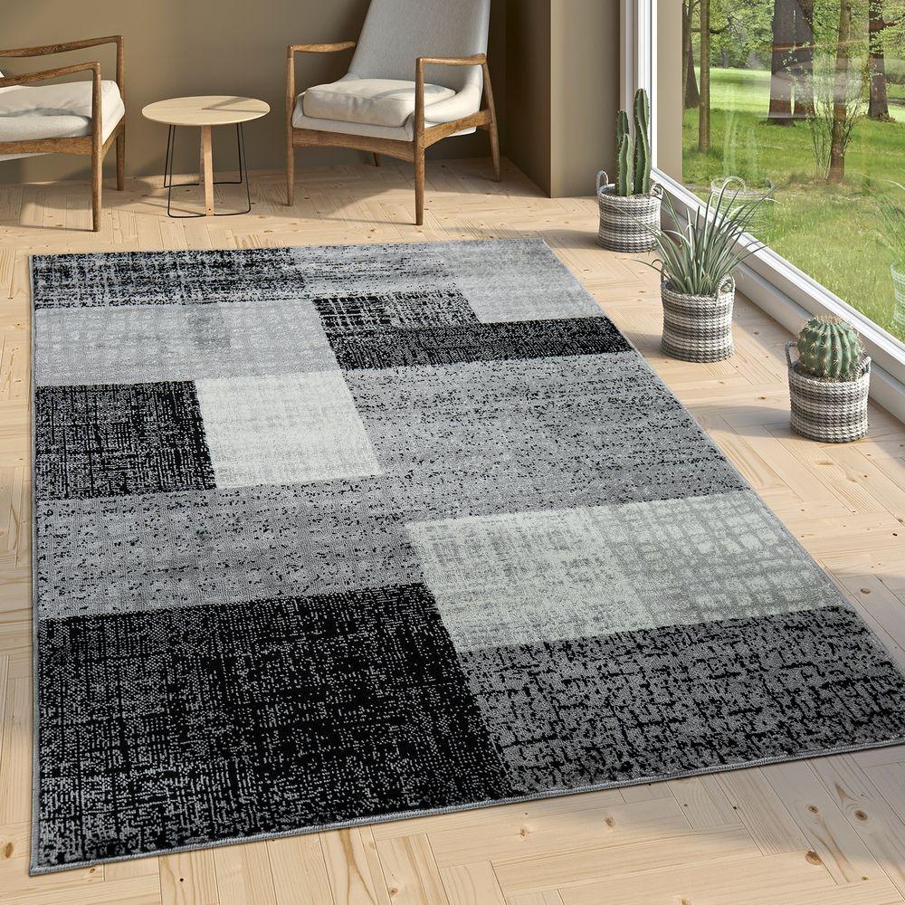 Designer Wohnzimmer Teppich Modern Kurzflor Karo Design Grau Schwarz Weiß 1  ...
