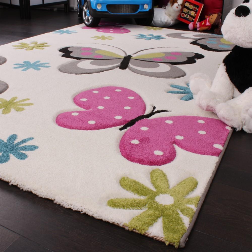 Kinder Teppich Schmetterling Design Pink Grün Blau Grau Creme ...