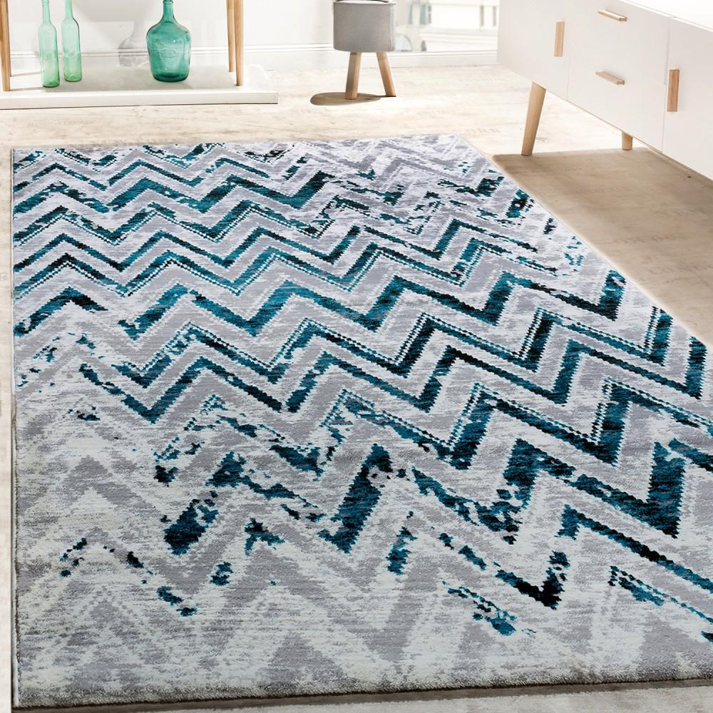 Designer Teppich Wohnzimmer Modern Zick Zack Grau Türkis Creme Meliert 1 ...