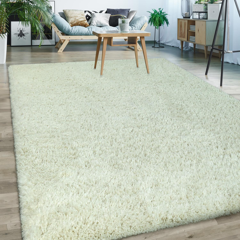 upcycling hochflor teppich kuschelig modern shaggy flokati stil einfarbig creme 1