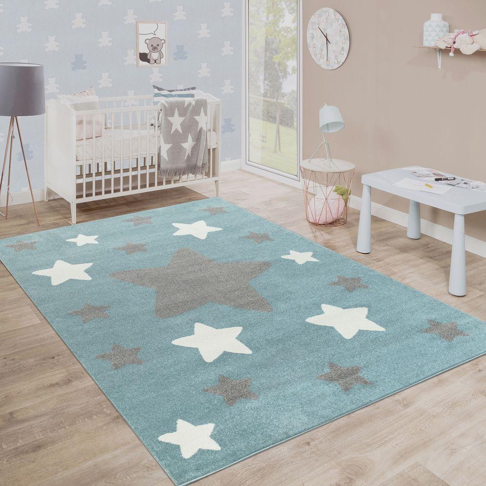 Teppich Kinderzimmer Kinderteppich Große Und Kleine Sterne In Blau ...
