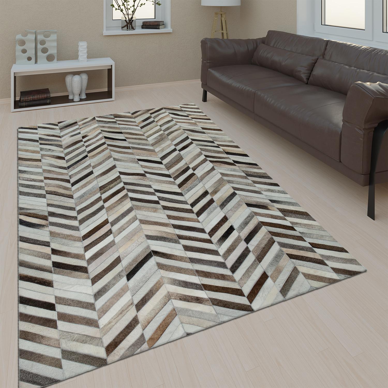 Gut Wohnzimmer Teppich Leder Wolle Modern Muster Zickzack In Schwarz Weiß Braun  1 ...