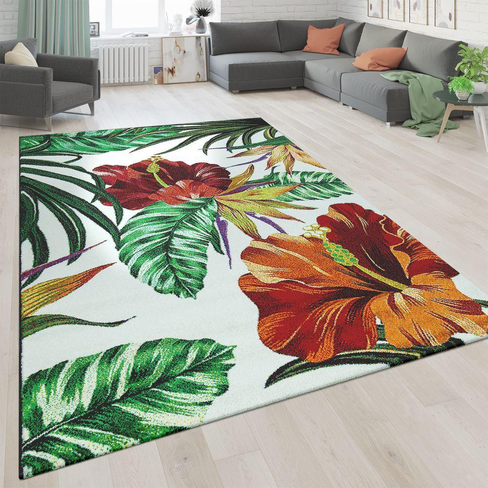 Kurzflor Wohnzimmer Teppich Greenery Design Blumen Muster Weiß Rot Grün 1  ...