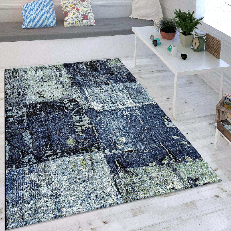Wohnzimmer Teppich Ölgemälde Optik Indigo Blau Weiß Grau Modern ...