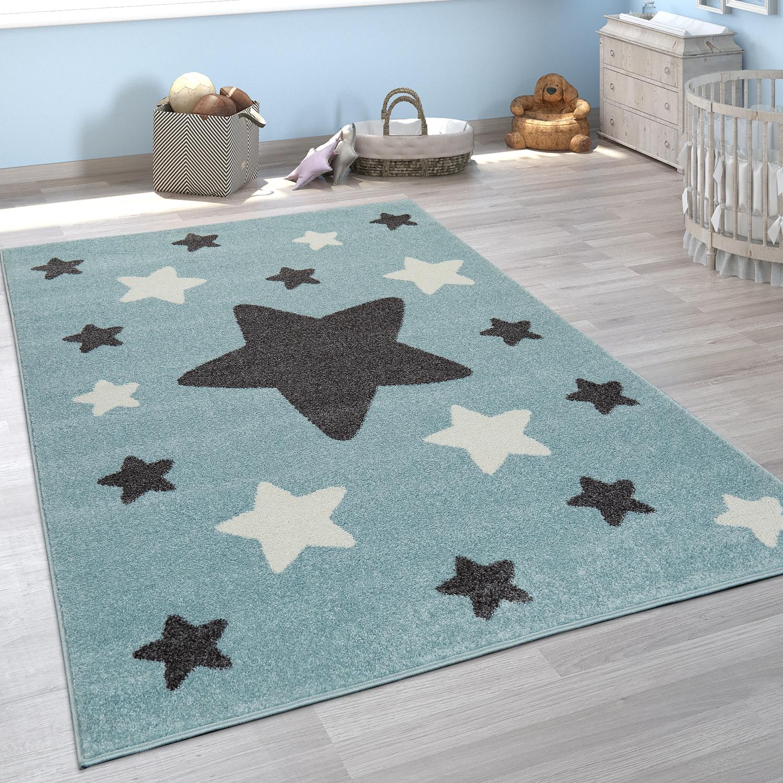 Teppich Kinderzimmer Kinderteppich Grosse Und Kleine Sterne In Blau Grau Kaufen Bei Diva Teppich Center