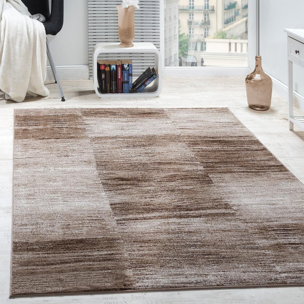 GroBartig Designer Teppich Modern Wohnzimmer Teppiche Kurzflor Karo Meliert Braun  Beige 1 ...