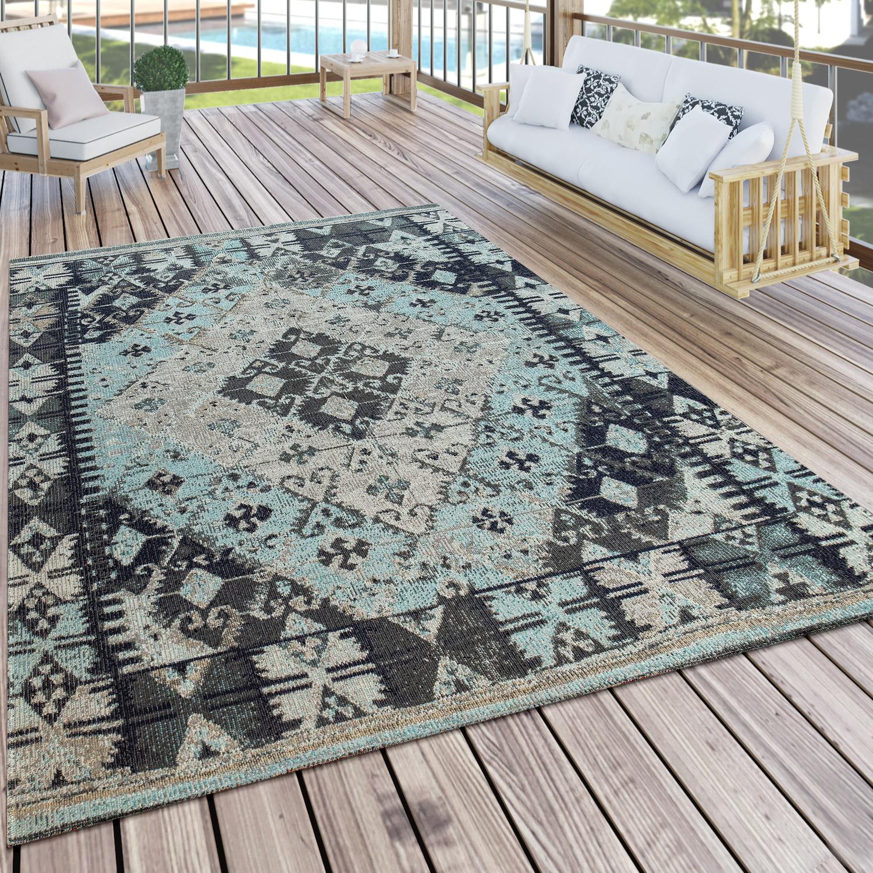 Orient-Muster Terrasse M Kariert In Türkis In- /& Outdoor-Teppich Für Balkon U