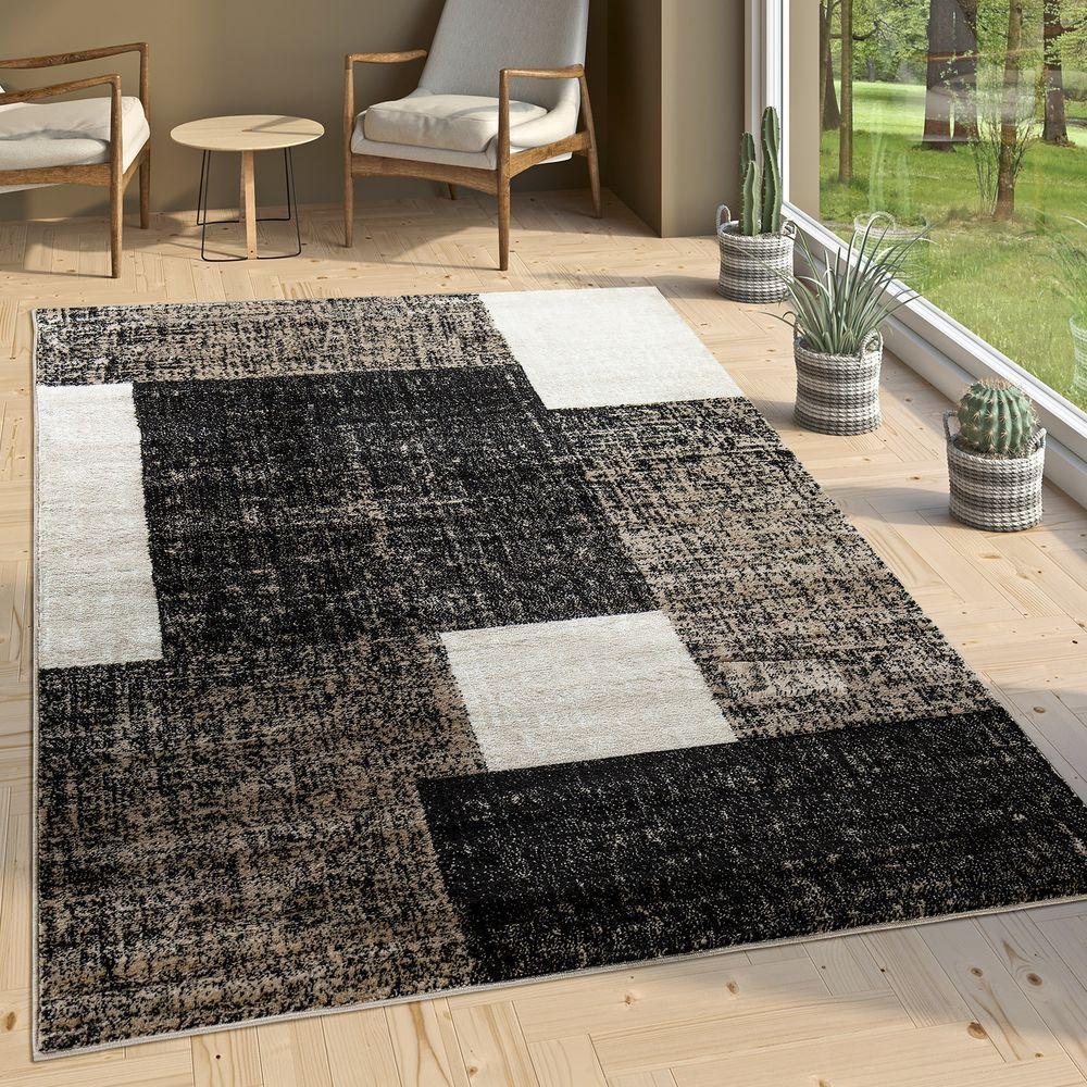 Designer Wohnzimmer Teppich Modern Kurzflor Karo Muster Braun Beige Creme 1  ...