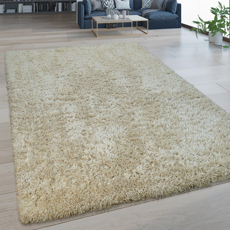 hochflor wohnzimmer teppich waschbar shaggy flokati optik einfarbig in beige 1