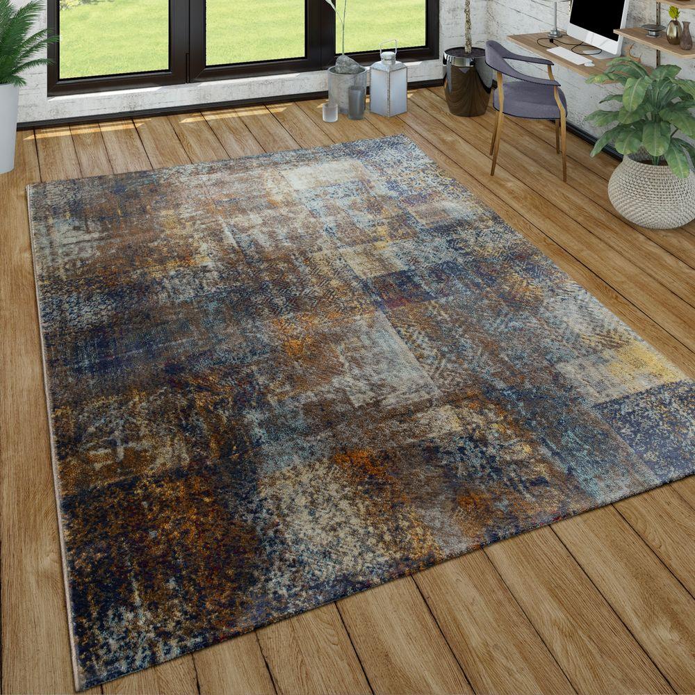 Kurzflor Teppich Wohnzimmer Used Look Patchwork Industrie Style Modern In  Bunt 1 ...