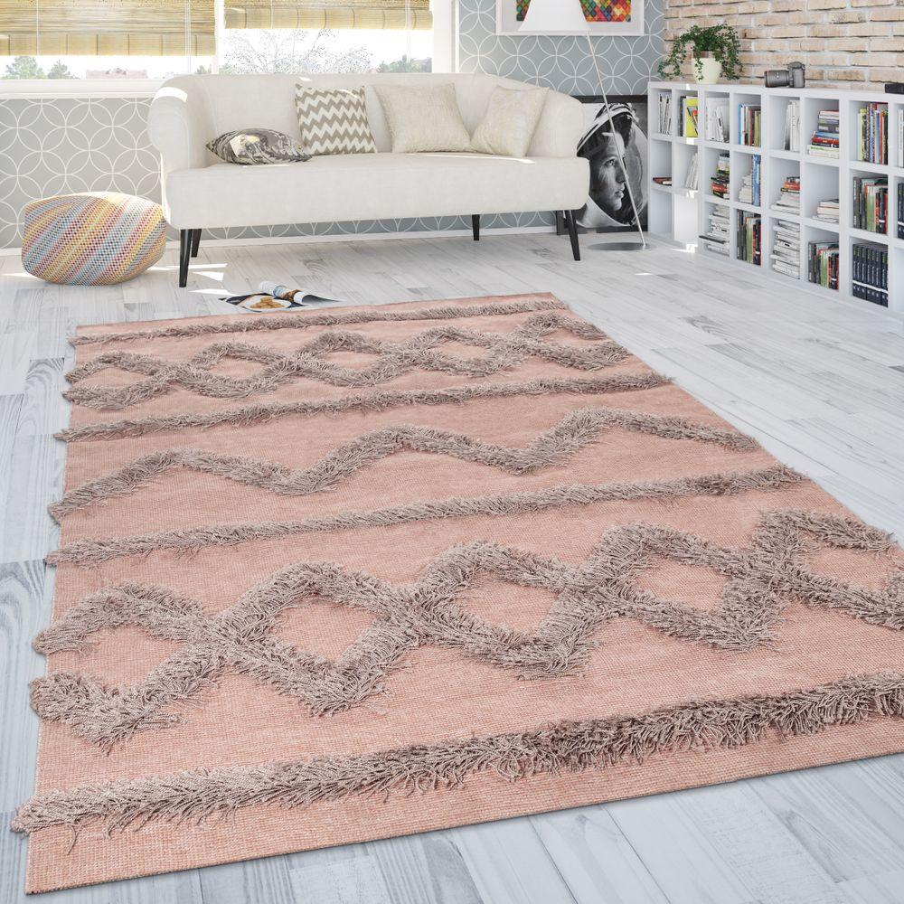 Teppich Wohnzimmer Shaggy Hochflor Zickzack Muster Skandinavisch In