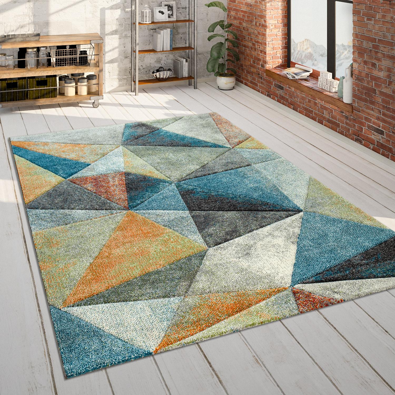 Wohnzimmer Teppich Blau Orange Bunt Dreieck Muster 3 D Look Bunt Robust Kurzflor Kaufen Bei Diva Teppich Center