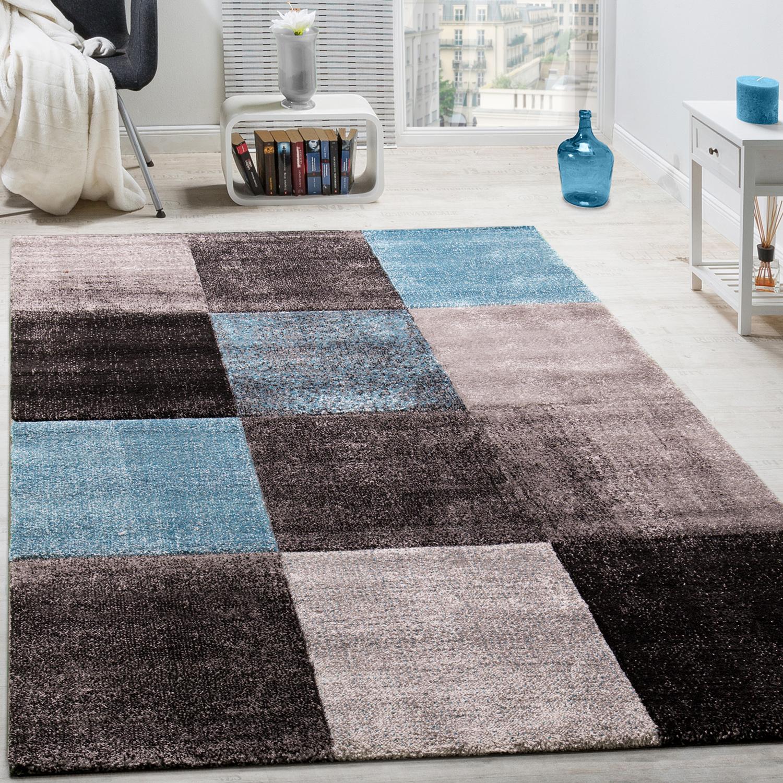 Designer Teppich Karo Muster Wohnzimmer Teppich Hochwertig In Türkis Grau  Blau 1 ...