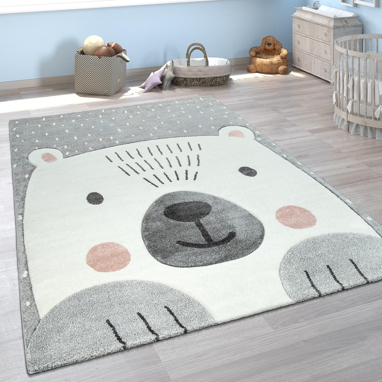 Kinderzimmer Spiel Kinder Teppich Grau Weiss Bar Motiv 3 D Design Kurzflor Weich