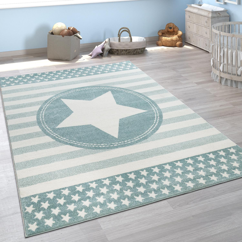 Kinderzimmer Teppich Blau Kurzflor Weich Streifen Muster Pastell Stern  Design