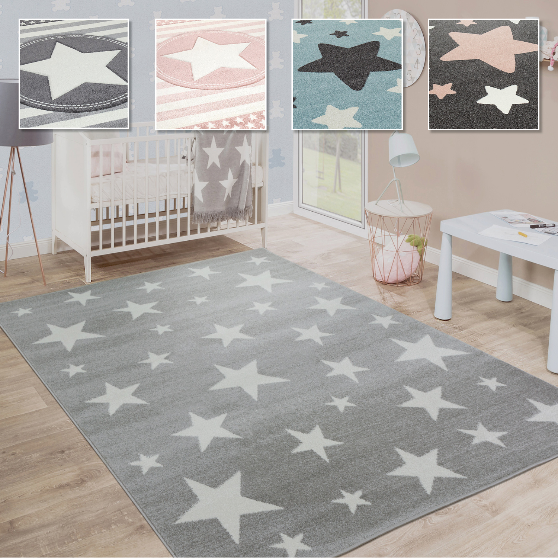 Kinderteppich, Moderner Kinderzimmer Teppich in Pastell Farben m.Stern  Motiven