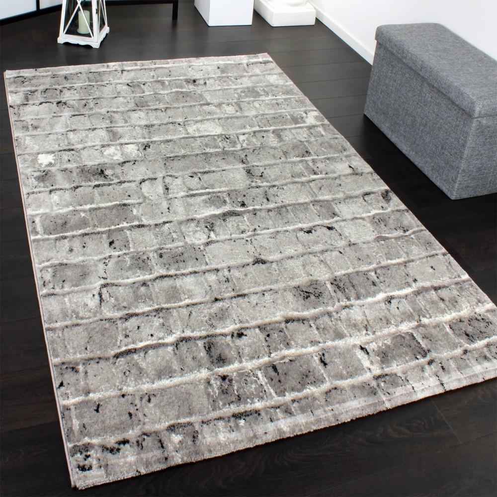 Edler Designer Teppich Mit Steinwand Optik In Grau Schwarz Meliert 1 ...