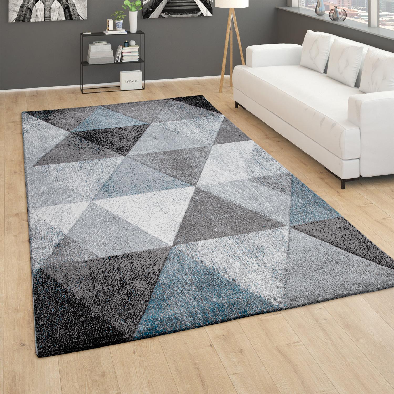 Teppich Wohnzimmer Vintage Kurzflor 3d Effekt Geometrisches Muster Modern Grau Grun Kaufen Bei Diva Teppich Center
