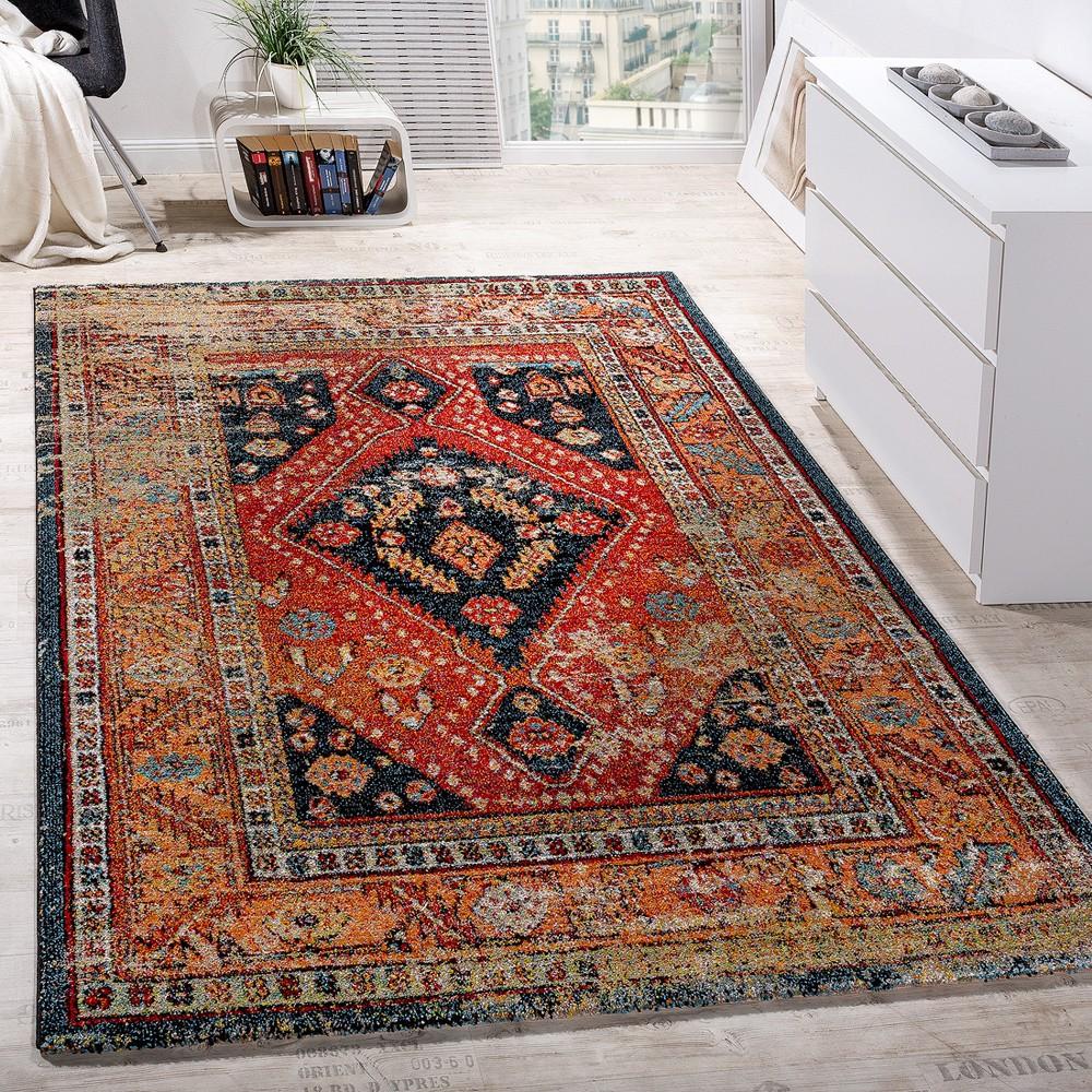 Designer Teppich Modern Kurzflor Orientalisch Design Schwarz Rot Türkis  Beige 1 ...
